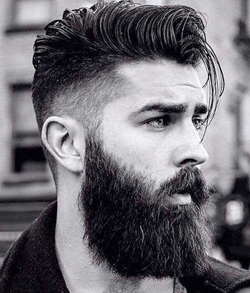 cool side part and fade with beard
