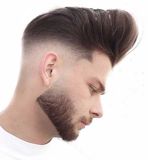 heavy pompadour with low fade