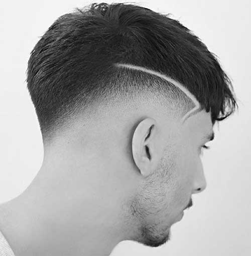 low taper fade with surgical line