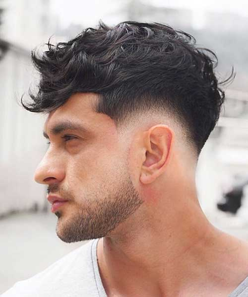 messy fringe low taper fade