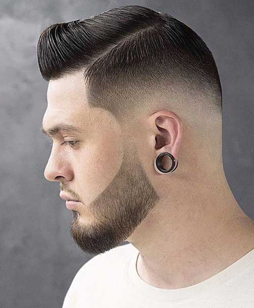 short clean side part low taper fade