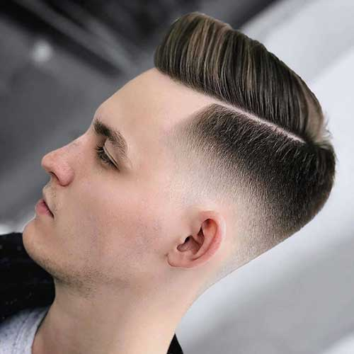 side part comb over low taper fade