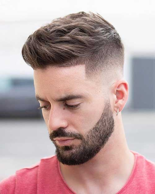 wavy low taper fade with beard 2
