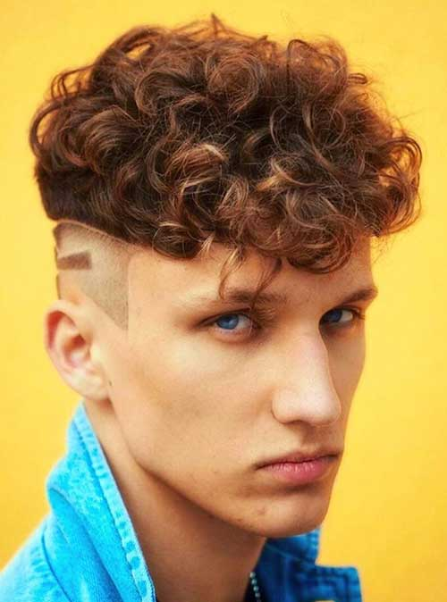 red high fade curly hairstyle