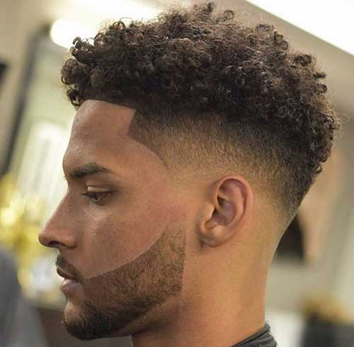 mid fade curly hairstyles for men with beard