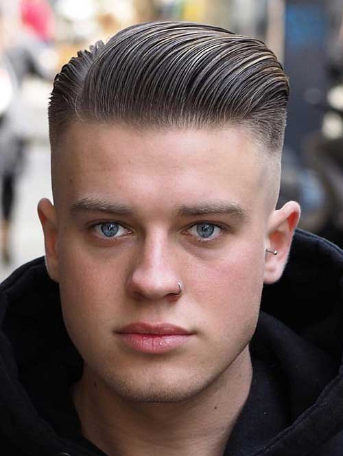slicked back short haircut for men 1