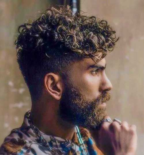 curly undercut with beard