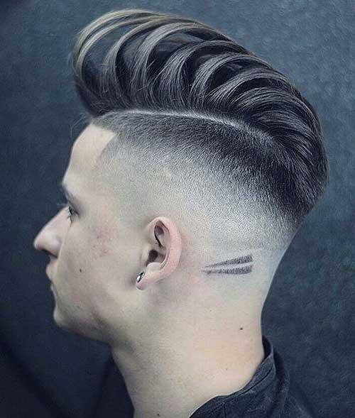 bald fade with pompadour 1