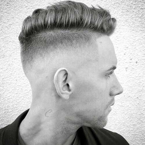 bald fade with side part 1
