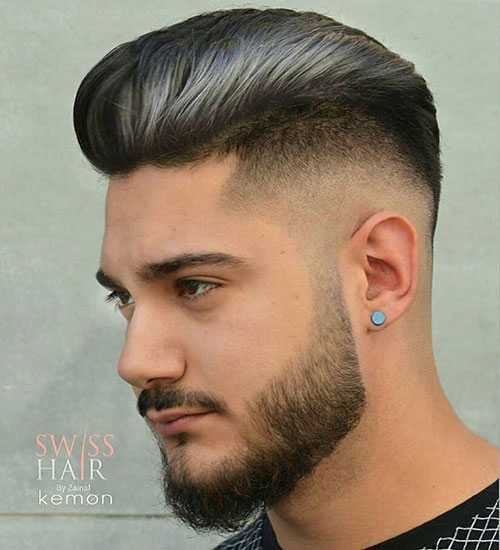 combed drop fade with hair color