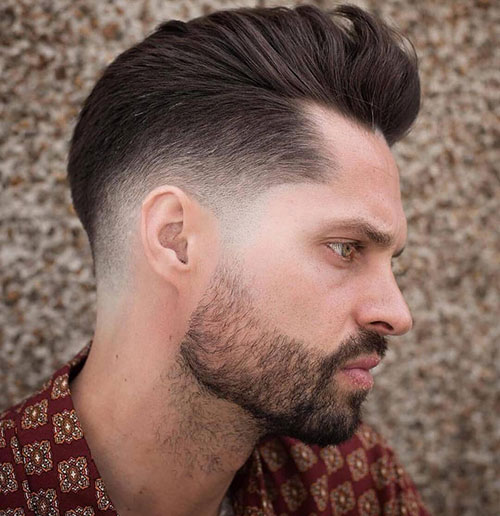 slicked over drop fade with beard