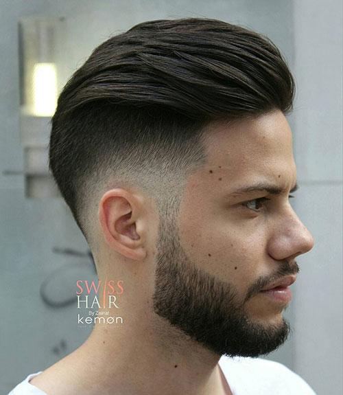 slicked back drop fade with beard