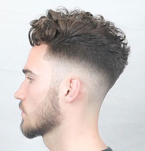 curly drop fade with hairline